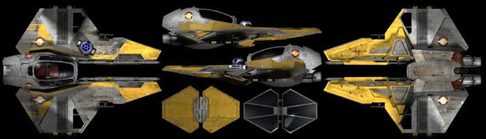 Jedi starfighter multiple angles